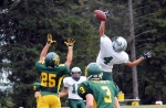 A Spackenkill pass intended for Mark Lewis was picked off by Eldred QB Bryan Henry on defense.