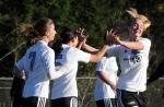 Celebrating a Lady Bulldogs goal: Ashley Mahoney, Adina Fadis, Katrina Graby.