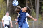 Catherine Peters of Sullivan West and Raven Sauri of the Family School demonstrate head's up soccer.