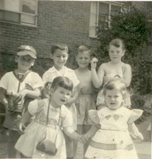 Janet and Paula in front of Joel and Buzz ~ 1955.crop