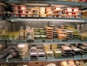 Shelves of sauses and prepared foods at Raffetto's