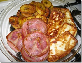 Plantains, fry cheese and pancetta