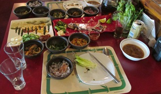 Aftermath of the meal at the Golden Swan Hotel August 2014_reduced image