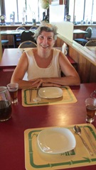Janet waiting to eat Korean food at the Golden Swan Motel August 2014_reduced image
