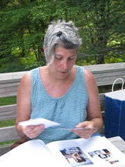 Janet on the back porch working on our scrap book