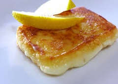 Grilled saganaki cheese