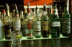 Bar bottles lined up